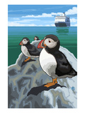 Puffin and Cruise Ship - Pacific