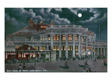 Long Beach  California - Exterior View of the Bath House at Night