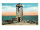 St Augustine  Florida - Fort Marion Old Watchtower Scene