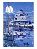 Hooper Strait Lighthouse in Winter - St Michaels  Maryland