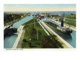 Sault Ste Marie  Michigan - Aerial View of Locks