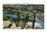 Lookout Mountain  Tennessee - View of a Confederate Cannon Overlooking Chattanooga
