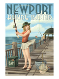 Newport  Rhode Island - Pinup Girl Fishing