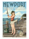 Newport  Rhode Island - Pinup Girl Fishing