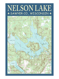Nelson Lake Chart - Sawyer County  Wisconsin