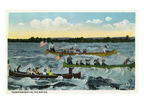 Sault Ste Marie  Michigan - View of Tourists Shooting the Rapids in Canoes
