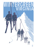 Wintergreen  Virginia - Skiers on Lift