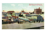 Long Beach  California - View of the Pike and Hotel Virginia in Distance