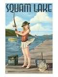 Squam Lake  New Hampshire - Pinup Girl Fishing