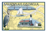Savannah  Georgia - Nautical Chart