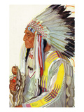 Portrait of Wades-In-The-Water  a Blackfeet Chieftain