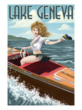 Lake Geneva  Wisconsin - Pinup Girl Boating