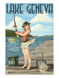 Lake Geneva  Wisconsin - Pinup Girl Fishing