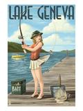 Lake Geneva  Wisconsin - Pinup Girl Fishing