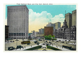 Detroit  Michigan - First National Bank  City Hall Exterior