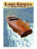 Lake Geneva  Wisconsin - Chris Craft Wooden Boat