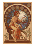 Woman and Bird - Art Nouveau