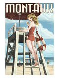 Montauk  New York - Pinup Girl Lifeguard