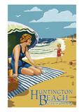 Huntington Beach  California - Woman on Beach