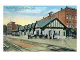 Corning  New York - New Erie Train Station and St James Hotel View