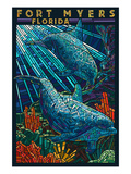 Fort Myers  Florida - Dolphins Paper Mosaic