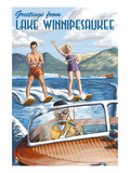 Lake Winnipesaukee  New Hampshire - Water Skiing Scene