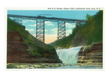 Letchworth State Park  New York - View of Erie Railroad Train on Bridge by Upper Falls