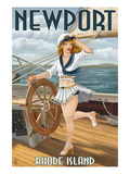 Newport  Rhode Island - Pinup Girl Sailing