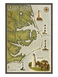 Lighthouse and Town Map - Outer Banks  North Carolina