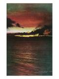 Lake Tahoe  California - Glenbrook  Sunset Scene on the Lake