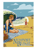 Newport Beach  California - Woman on the Beach