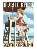 Myrtle Beach  South Carolina - Pinup Girl Lifeguard