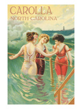 Carolla  North Carolina - Beach Scene with Three Ladies in Swim Attire in Water
