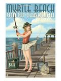 Myrtle Beach  South Carolina - Pinup Girl Fishing