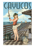 Cayucos  California - Pinup Girl Fishing