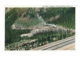 Yoho Nat'l Park  British Columbia - Trains Exiting the Spiral Tunnels