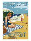 Newport  Rhode Island - Beach Scene