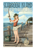 Seabrook Island  South Carolina - Pinup Girl Fishing