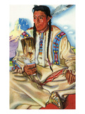 Portrait of Middle Rider  a Blackfeet Brave