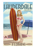 Ft Lauderdale  Florida - Pinup Girl Surfing