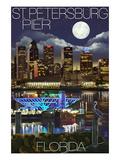 St Petersburg  Florida - Night Skyline and Pier