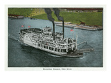 Cincinnati  Ohio - Ohio River Excursion Steamer Near City