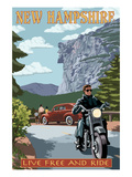 New Hampshire - Motorcycle Scene and Old Man of the Mountain
