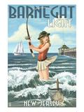 Barnegat Light  New Jersey - Pinup Girl Fishing