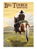 Big Timber  Montana - Cowboy on Bluff