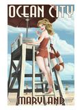 Ocean City  Maryland - Lifeguard Pinup Girl