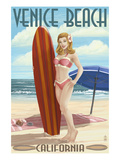 Venice Beach  California - Pinup Surfer Girl