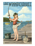 Lake Winnipesaukee  New Hampshire - Pinup Girl Fishing