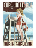 Cape Hatteras  North Carolina - Lifeguard Pinup Girl