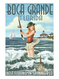 Boca Grande  Florida - Pinup Girl Fishing